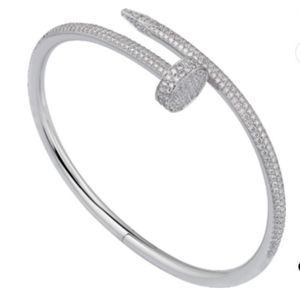 NEW Nail Stainless Steel Zircoin Paved Bangle
